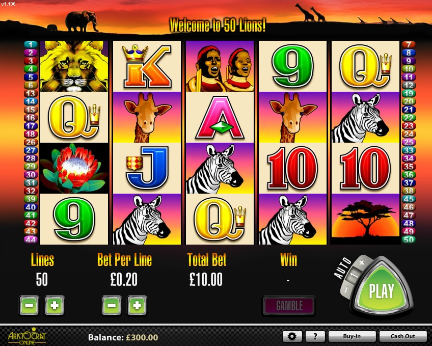 play 50 lions slot game for fun
