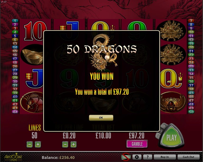 50 Dragons Slot free spins bonus wins
