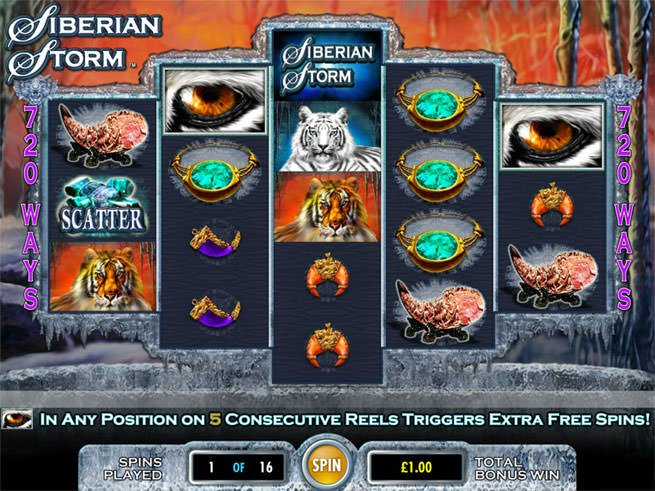 Screenshot image of the Siberian Storm Free Spin Bonus