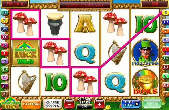 Screenshot image of the Leprechaun's Luck Slot Game