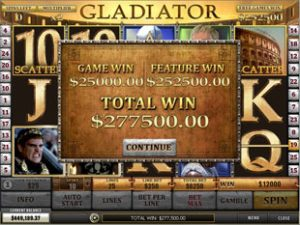 Screenshot image of the Gladiator Slot Win