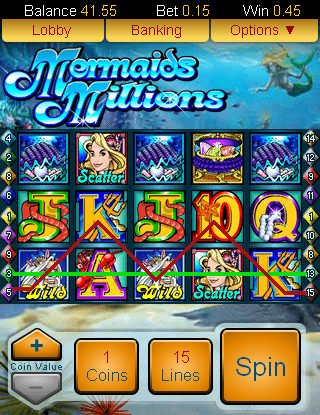 Screenshot image of the Mermaids Millions slot game