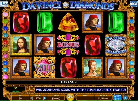 Screenshot image of the Da Vinci Diamonds pokie