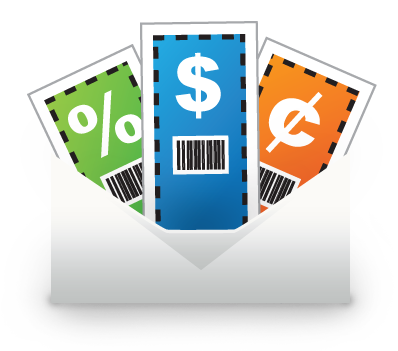 Animated picture of three coupons with promotional codes packed inside an envelope.