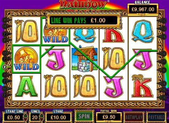 Rainbow Riches slot win using wild symbols