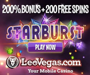 Banner image of Leo Vegas Casino featuring a 200% Free Welcome Bonus offer plus 200 Free Spins to play Starburst slot online