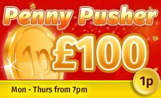 Promotional image of the Penny Pusher Promotion at Glossy Bingo