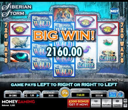 Screenshot image of the Siberian Storm slot game showing a big win of 2,160 on the reels