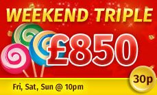Promotional image of the Weekend Triple promotion at Glossy Bingo