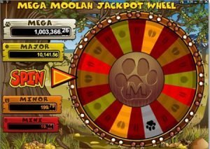 Image of the Jackpot Wheel in play in Mega Moolah slot machine