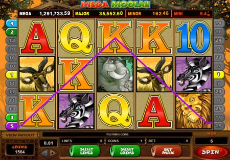 Screenshot image of the Mega Moolah slot machine game from Microgaming