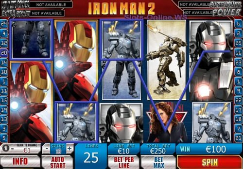 Screenshot image of the Iron Man 2 slots machine game from Playtech