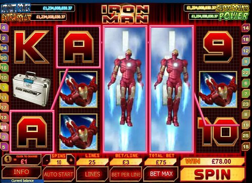 Screenshot image of the Iron Man slots machine game from Playtech.