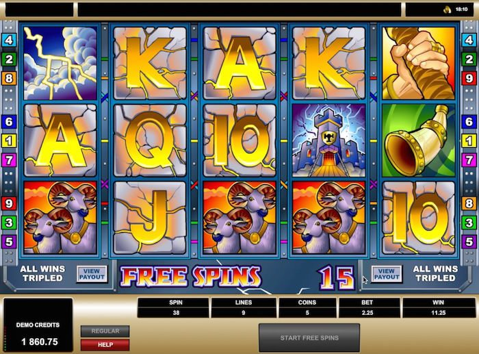 Screenshot image of the Thunderstruck slot free spins