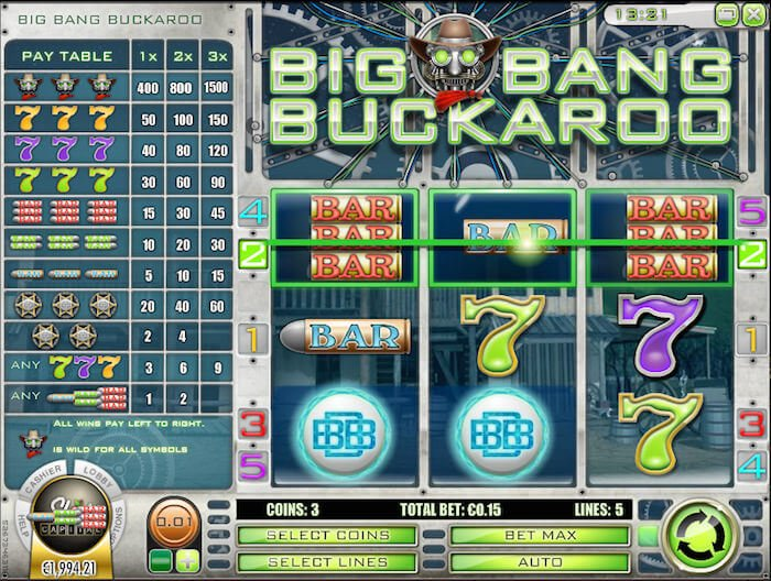 Screenshot image of the Big Bang Buckaroo slots win with the Bars