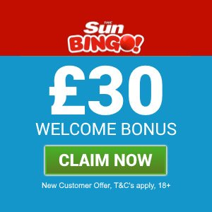 Banner image of the Sun Bingo £30 free welcome bonus offer
