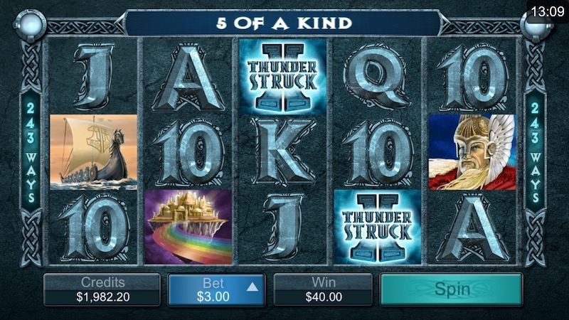 Screenshot image of the Thunderstruck 2 slot win on the reels