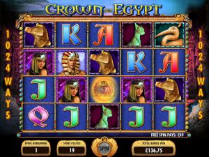 Screenshot image of the Crown of Egypt slot free spins bonus game