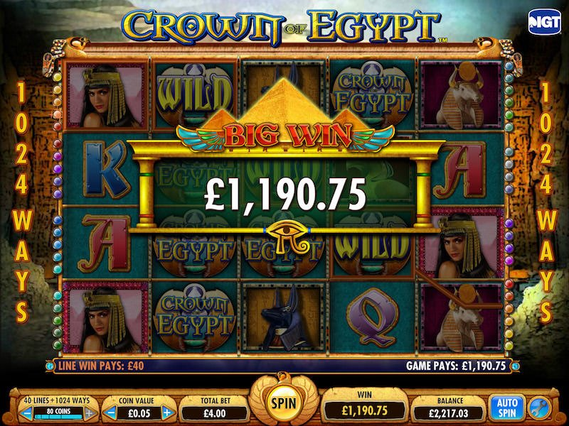 Screenshot image of a big win in Crown of Egypt slot machine