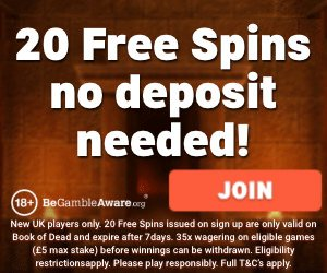 Banner image of the Leo Vegas 20 free spins no deposit needed bonus offer