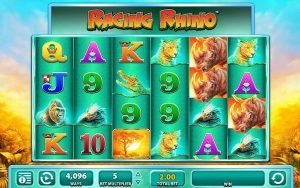 Screenshot image of the Raging Rhino slot machine game