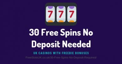 "Header image of the 30 free spins no deposit required review showing an clipart image of a slot machine and the text: ""30 free spins no deposit needed - uk casinos with freebie bonuses"""