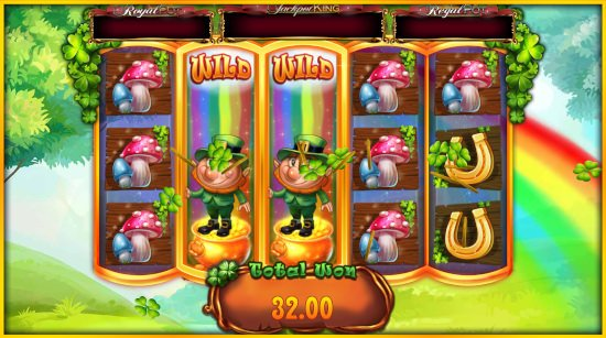 Screenshot image of the Slots of Golf slot machine game from Bluprint showing a big win during the free spins bonus